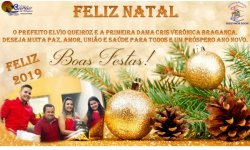 O Prefeito Elvio Queiroz e a Primeira Dama Cris Verônica Bragança deseja a toda população de Barão de Melgaço-MT um Feliz Natal é um Próspero Ano Novo